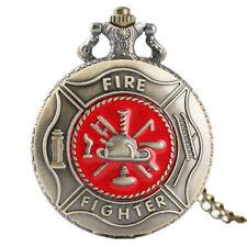 Fighter Bronze Fashion Men Chain Modern Vintage Quartz Pocket Watch Gift Fire