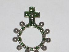 Vintage Finger Rosary Crown of Thorns INRI Silvertone Green Shadow CrucifixRing