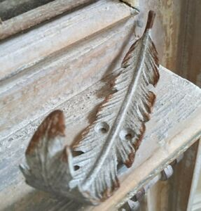 New Grey FEATHER French Vintage Shabby Chic Cast Iron Rustic Wall Coat HOOK