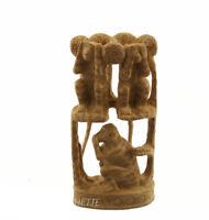 Estatua 3 Monos de La Sabiduría de Madera de Kadam Escultura Indienne D'Art 4727