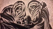 Alfredo de Trinidad Solis - Original Linocut LA MANDA - 1954 - 7/25