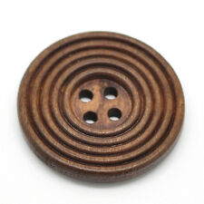 20 Round Coffee Wood Buttons 4 Holes Sewing Scrapbook Ornaments Making 30mm