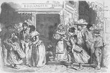 PARIS. Parisians discussing the price of bread. France, antique print, 1853