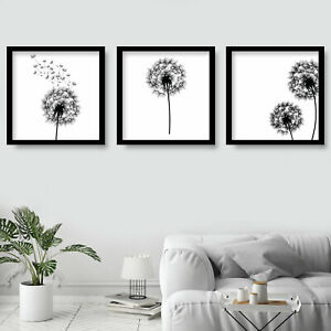 SET of 3 SQUARE Abstract Sketch DANDELION Botanical Decor Wall Art  Print Poster