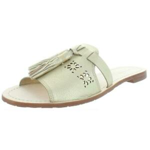 Kate Spade Womens Claire Leather Open Toe Flats Slide Sandals Shoes BHFO 8910