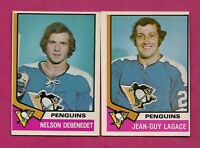 1974-75 OPC PENGUINS DEBENEDET RC + LAGACE RC  CARD (INV# A6057)