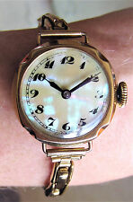 Ladies 1913 9ct Gold Dennison Pearl Dial Mechanical Bracelet Watch 15J Cal34