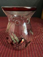 Yankee Candle Cardinal Pinecones Christmas Tart Warmer Clear Glass Wax Burner