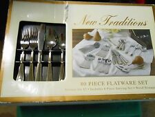 NIB- NEW TRADITIONS 80 pc. Stainless FLATWARE with WOOD STORAGE BOX