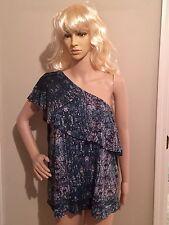 XL blue NWT ONE SHOULDER SLEEVE blouse w/ SCARF COLLAR RUFFLE by JENNIFER JOPEZ