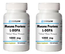 Mucuna Pruriens Extract 1000mg Serve 240 Capsules L-Dopa Velvet Bean 2x Bottles