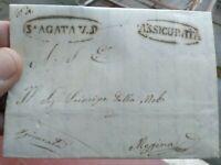 1855 291) LETTERA ASSICURATA DA ALCARA LI FUSI A MESSINA SU MULINI E POVERTA'