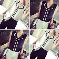 New Women V-neck Shirt Chiffon Tank Vest Top Sleeveless Office Lady Solid Casual