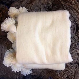 Loom Wool Pom Pom , Blanket ,Ivory/White ,Bohemian Bed Cover ,