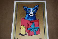 George Rodrigue Blue Dog Jingle My Bells At Night Gold Silkscreen Print Signed