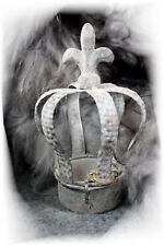 NOSTALGISCHE DEKO-Krone Metall Shabby chic Vintage grau Landhaus Antik Lilie