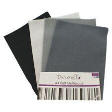 Dovecraft A4 Art + Craft Feltro Colorato 8 FOGLI Shade Confezione Multipla-NERI + GRIGI
