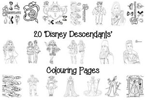 DESCENDANTS Colouring Pages - 20 Sheets - Perfect for Rainy Days & Holidays!
