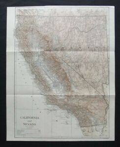 Antique Map: California & Nevada, United States, by Emery Walker, 1910