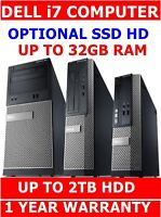 DELL i7 ✔ i5 ✔i3 ✔ Pentium G series COMPUTER PC✔ UPTO 32GB RAM SSD HDD UPTO 2TB
