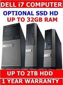 DELL i7 3770 3rd GEN COMPUTER PC✔ UPTO 32GB RAM SSD HDD UPTO 2TB