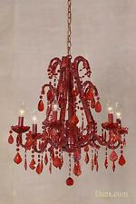 DUSX Marie Therese Red French Glass Droplet Large 6 Arm Chandelier Ceiling Light