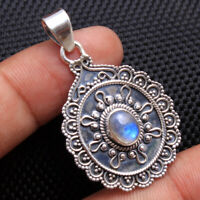 Natural Rainbow Moonstone Gemstone 925 Sterling Silver Jewelry Pendant