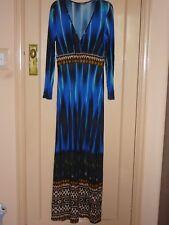 South Aztec Blue Brown Long Sleevemaxi Dress Small medium 10 - 12