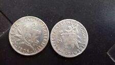 2 Francs argent semeuse rare 1900 et 1905