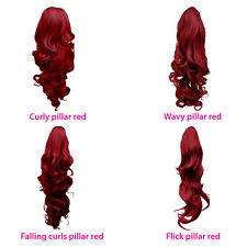 Cola De Caballo peluquín Clip en extensiones de cabello Pilar Rojo Reversible 4 Estilos