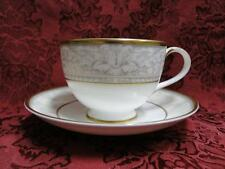 """Royal Doulton Naples Gold, White w/ Taupe Scrolls: Cup & Saucer Set (s) 2 5/8"""""""