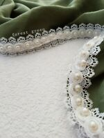 New Lux Lace Pearls Hijab Plain Cotton Shawl Sarong Wrap Scarf Big Large Maxi