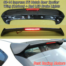 STi Style Roof Spoiler Wing (Carbon) + Red LED Fits 08-14 Subaru Impreza 5dr