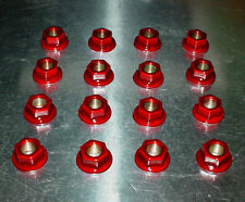 (16)10mm x 1.25 ATV Lug Nuts Transparent Red Powder Coated Honda Yamaha Kawasaki
