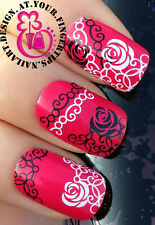 NAIL ART WRAP WATER TRANSFERS DECALS STICKERS BLACK WHITE LACE ROSES FLOWERS #88