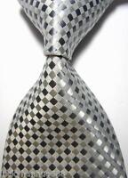 New Classic Checks Gray SIlver White JACQUARD WOVEN 100% Silk Men's Tie Necktie