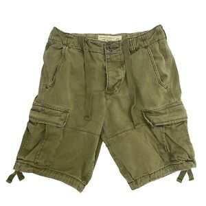 Men's Abercrombie and Fitch Cargo Shorts Size 28 Waist Olive Green Button Fly