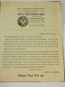 A Scarce Civil War Union Recruiting Poster State of Main Dec 20th 1864