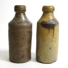 2 Antique Salt Glazed Stoneware Beer Bottle Lot