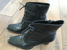 Women's Halloween Witch Leather Lace Up Victorian Style Boots Steampunk Goth 8
