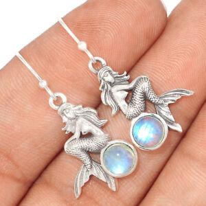 Mermaid - Rainbow Moonstone - India 925 Silver Earrings Jewelry BE57961