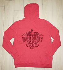 Womens DISNEY PARKS 1/4 Button Down Sweater Hoodie Coral Embroidered L/S L Large