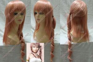 Final Fantasy FF13 Serah Orange Pink Mixed Heat Resistant Hair Cosplay Wig Curly