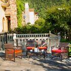 4pc Furniture Patio Outdoor Wicker Rattan Sofa Chair Seat Garden Table Cushion
