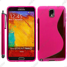 Housse Etui Coque Silicone S-line Gel Rose Samsung Galaxy Note 3 N9000 + Stylet