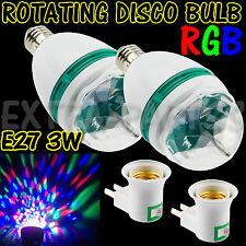 2 3W E27 RGB CRYSTAL MAGIC BALL ROTATING LED STAGE LIGHT BULB DISCO PARTY + PLUG