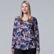 SIMPLY VERA VERA WANG V-NECK LONG SLEEVE PLUS SIZE  TEE    SIZE 0X NWOT
