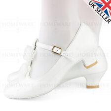 Zapatos de chicas Comunión T-Bar de patente Blanco Boda Dama De Honor Flores Niña UK8-2