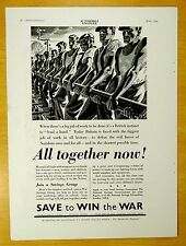 SAVE TO WIN THE WAR 1940 British Homefront Railroad Workers Lay Track mag ad