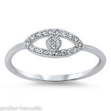 925 Sterling Silver & Pave Set Cubic Zirconia CZ Evil Eye Ring
